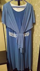 Платье сине-голубое большого размера